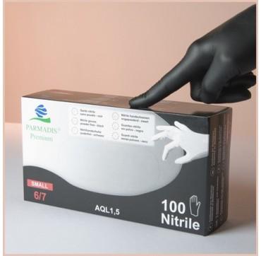 Gants nitrile noir non poudrés parmadis premium