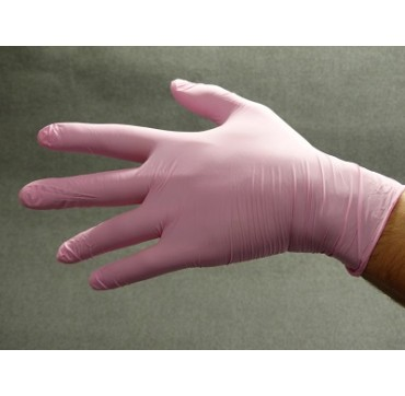 Gants nitrile rose non poudrés polyco heathline bodyguards