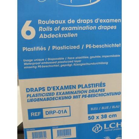 Drap d'examen plastifie bleu par 6 rouleaux