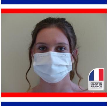 Masque chirurgical 3 plis par 50 sans latex made in france