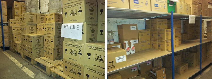 Notre stock de gants latex, nitrile, vinyle...